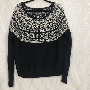 American Eagle AEO Black white thick sweater XL